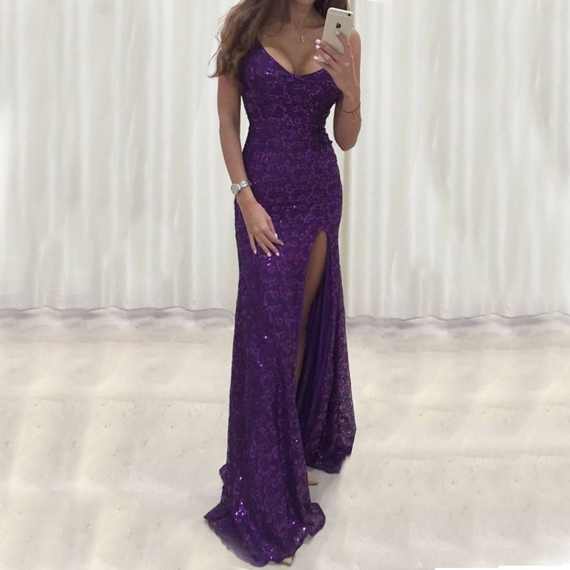 Mermaid Scoop Floor-Length Purple Lace Prom Dress with Sequins