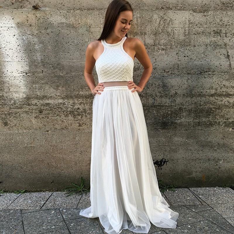 Two Piece Jewel Open Back Floor-Length White Prom Dress with Beading