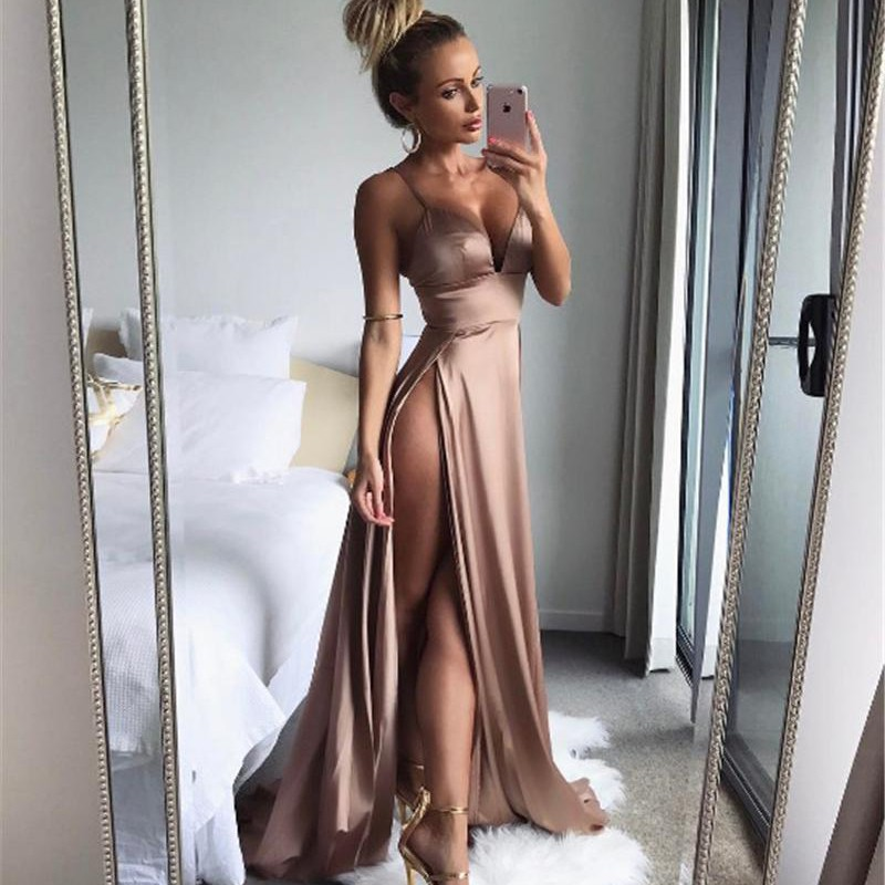 A-Line Spaghetti Straps Sweep Train Blush Prom Dress with Split