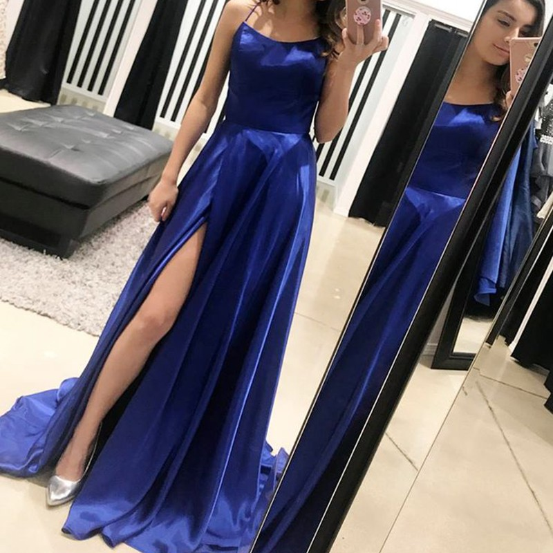 A-Line Spaghetti Straps Sweep Train Royal Blue Prom Dress with Split