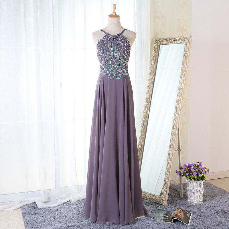 A-Line Spaghetti Straps Floor-Length Grey Chiffon Prom Dress with Beading