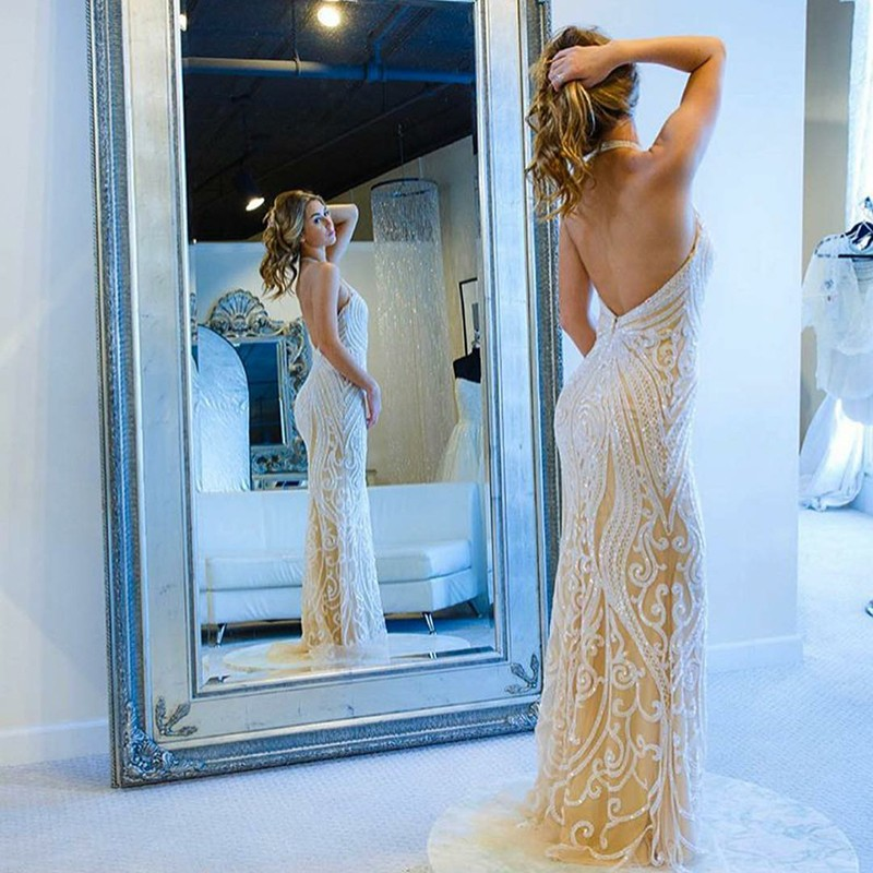 Mermaid Halter Backless Light Champagne Prom Dress with Appliques Sequins