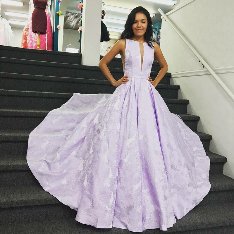 A-Line Bateau Sleeveless Sweep Train Lilac Floral Satin Prom Dress