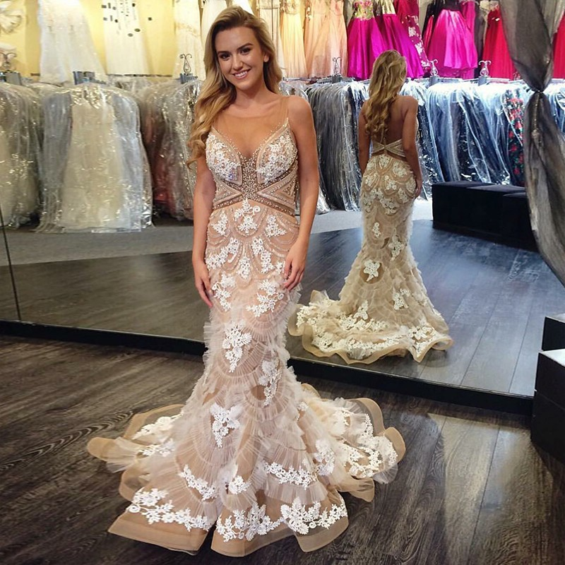 Mermaid Round Neck Backless Sweep Train Champagne Prom Dress with Appliques