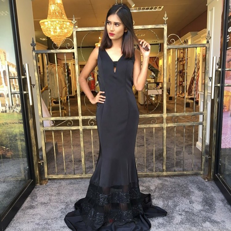 Mermaid V-Neck Sweep Train Black Prom Dress with Lace