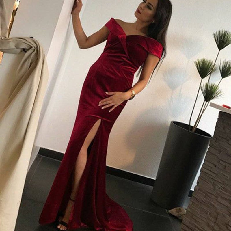 Mermaid Off-the-Shoulder Sweep Train Burgundy Prom Dress with Split