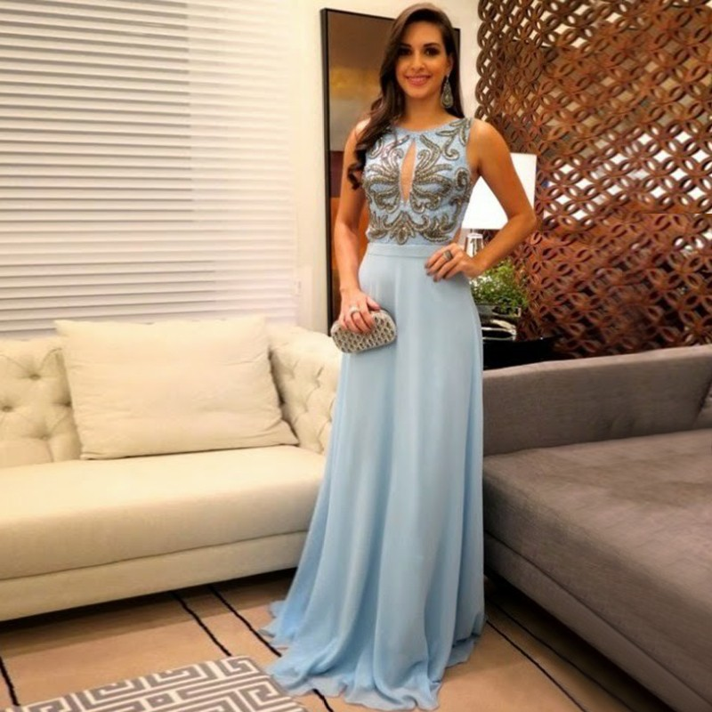 A-Line Round Neck Floor-Length Blue Chiffon Prom Dress with Appliques
