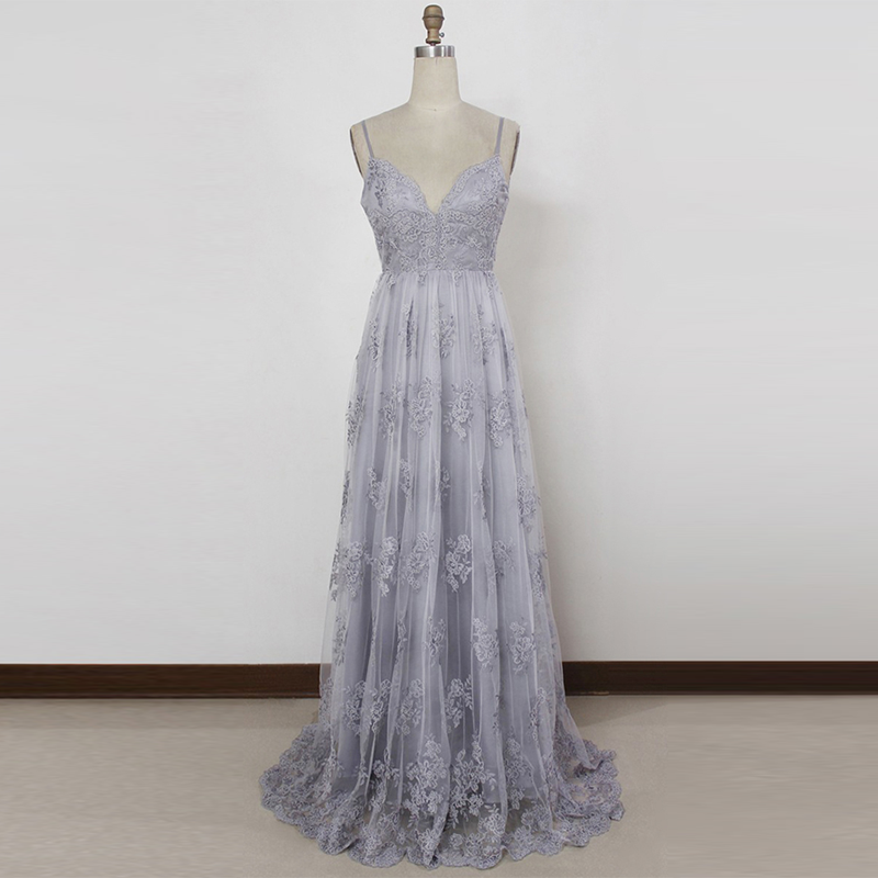 A-Line Spaghetti Straps Long Grey Tulle Prom Dress with Appliques