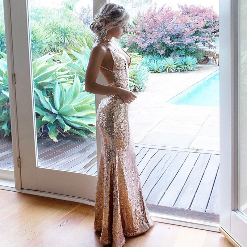 Mermaid Spaghetti Straps Floor-Length Champagne Sequined Prom Dress