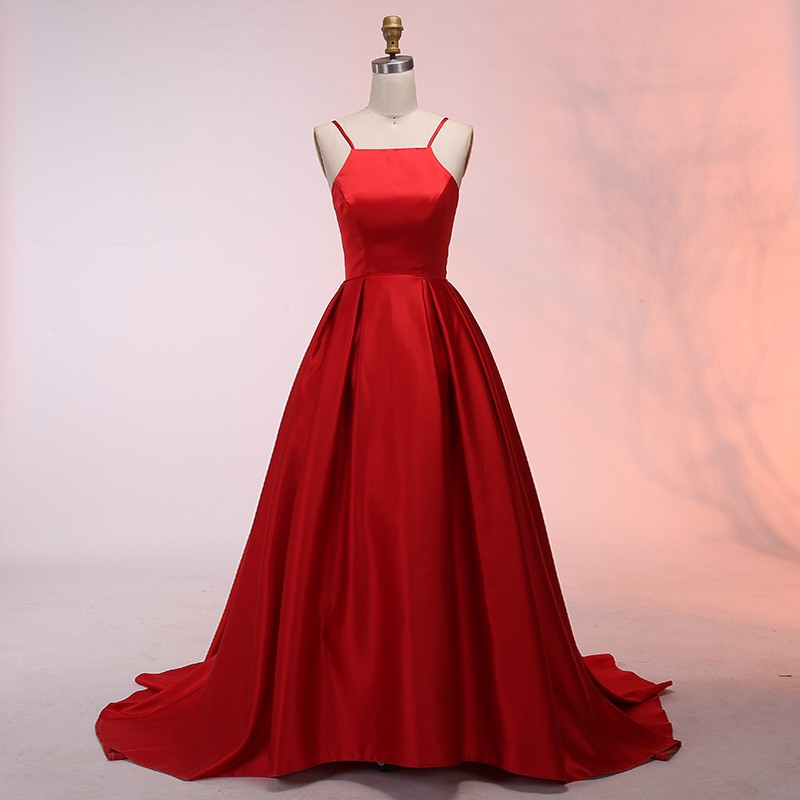 A-Line Spaghetti Straps Sweep Train Red Satin Prom Dress