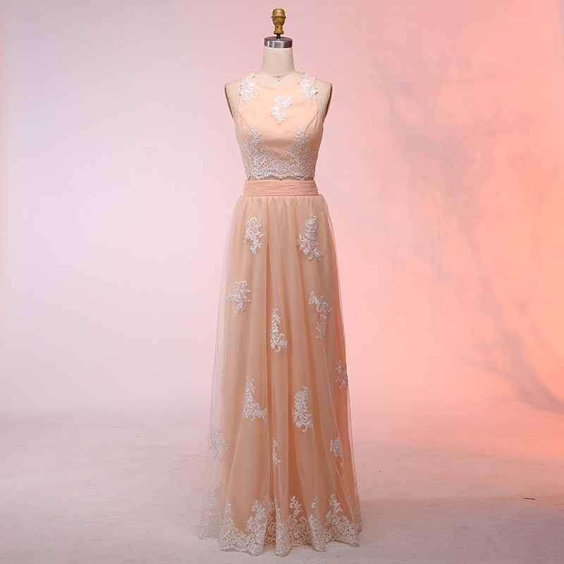 Two Piece Round Neck Floor-Length Peach Tulle Prom Dress with Appliques