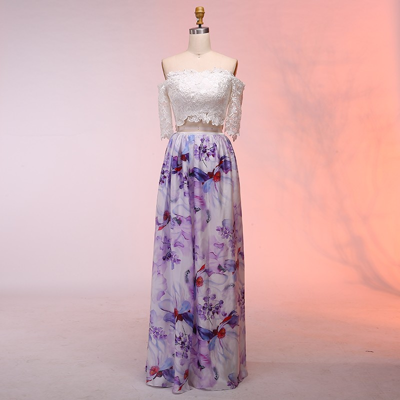 Two Piece Off-the-Shoulder Floor-Length Floral Prom Dress with Lace