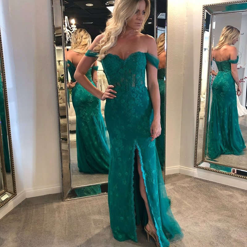 Mermaid Off-the-Shoulder Long Dark Green Prom Dress with Appliques
