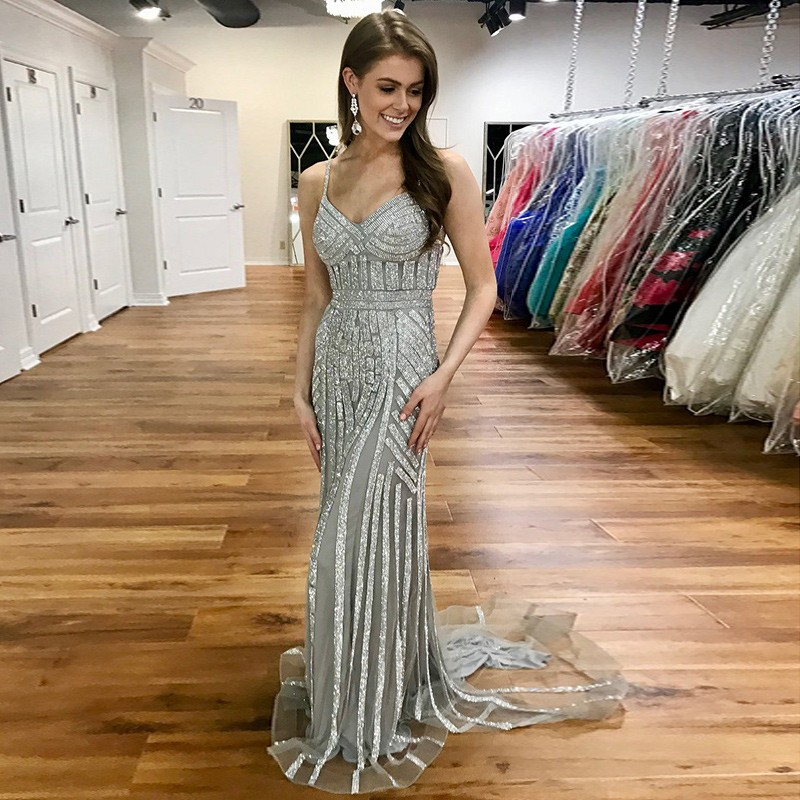 Mermaid Sweetheart Sweep Train Grey Prom Dress with Sequins