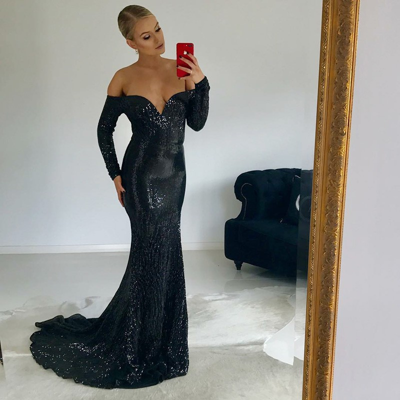 Mermaid Off-the-Shoulder Long Sleeves Black Sequined Prom Dress