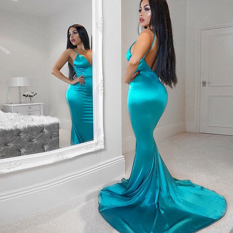 Mermaid Spaghetti Straps Backless Sweep Train Turquoise Prom Dress