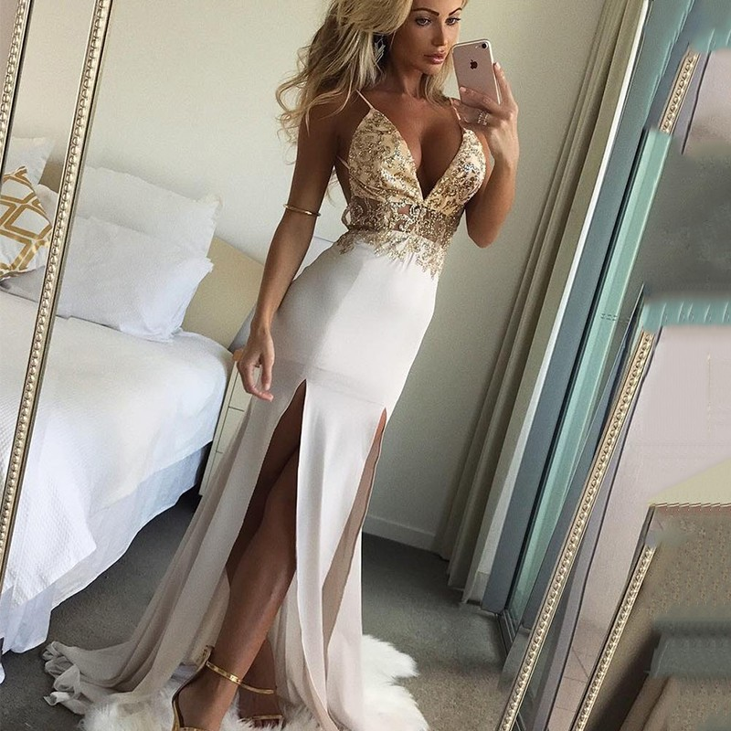 Mermaid Spaghetti Straps Backless Floor-Length Prom Dress with Beading