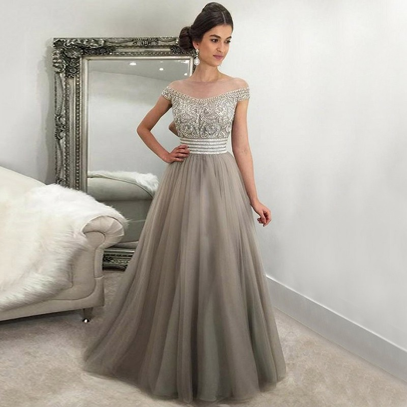 A-Line Off-the-Shoulder Floor-Length Light Grey Tulle Prom Dress with Beading
