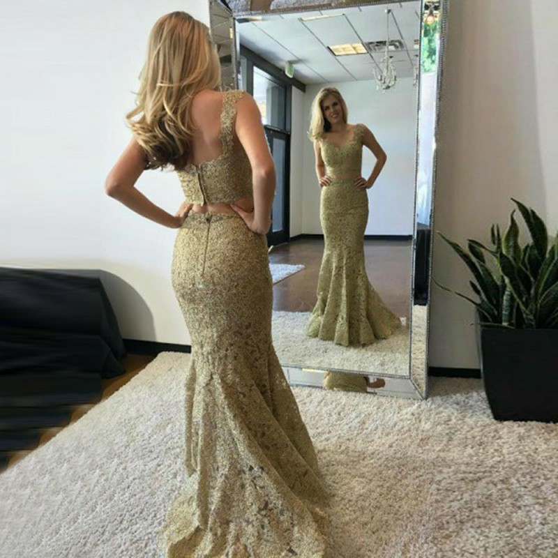 Two Piece V-Neck Sleeveless Sweep Train Champagne Lace Prom Dress