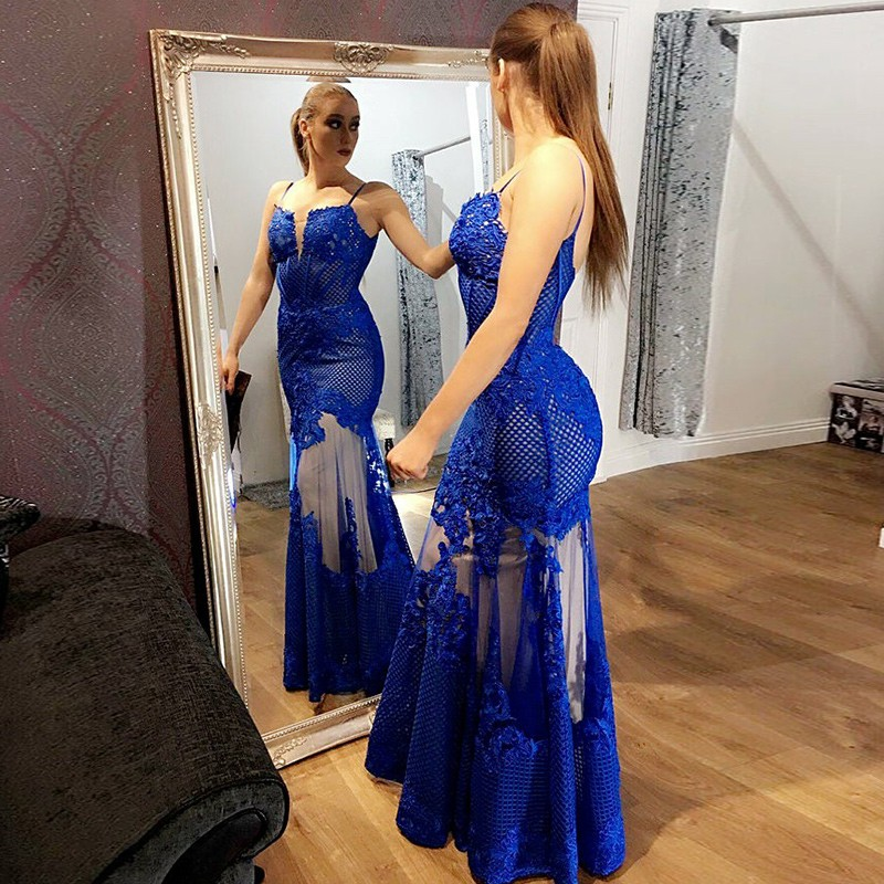 Mermaid Spaghetti Straps Floor-Length Royal Blue Prom Dress with Appliques