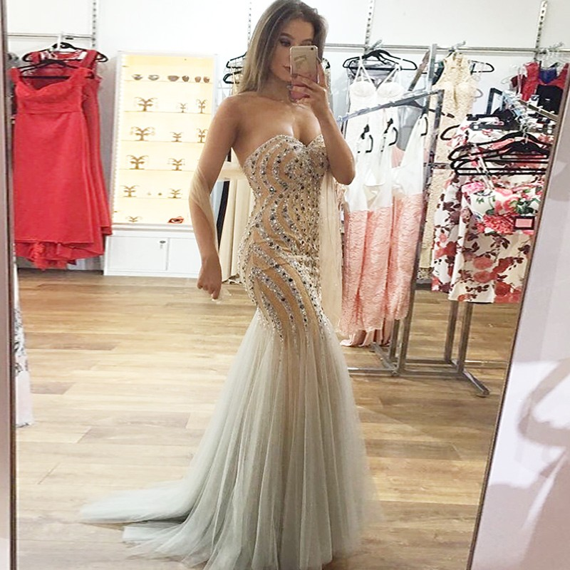 Mermaid Sweetheart Sweep Train Light Champagne Prom Dress with Beading
