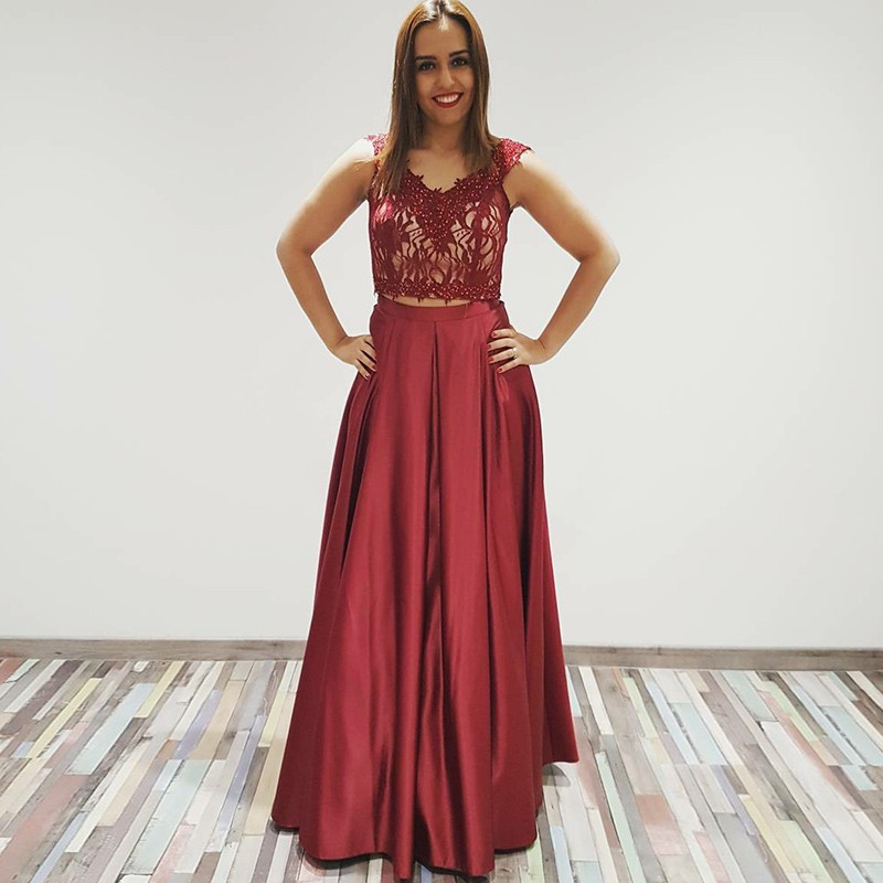 Two Piece V-Neck Floor-Length Burgundy Satin Prom Dress with Lace Beading