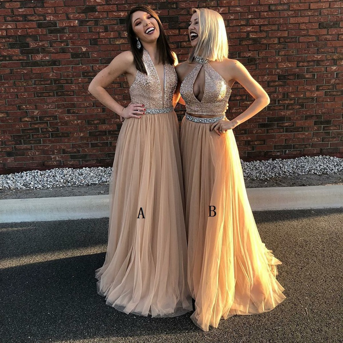 A-Line V-Neck Floor-Length Champagne Tulle Prom Dress with Sequins