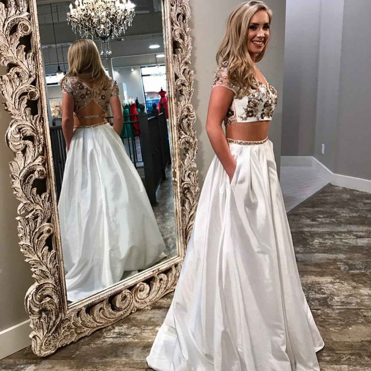 Two Piece V-Neck Short Sleeves White Satin Prom Dress with Beading Pockets