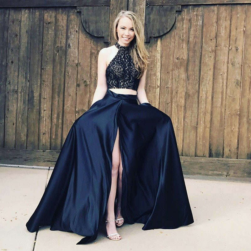 Two Piece High Neck Navy Blue Satin Prom Dress with Pockets Lace