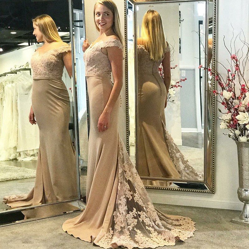 Mermaid Off-the-Shoulder Long Light Champagne Prom Dress with Appliques