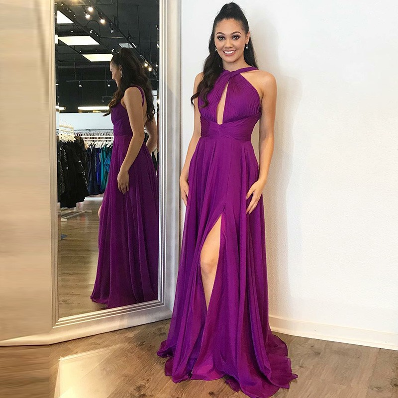 A-Line Cross Neck Backless Long Purple Chiffon Prom Dress with Keyhole
