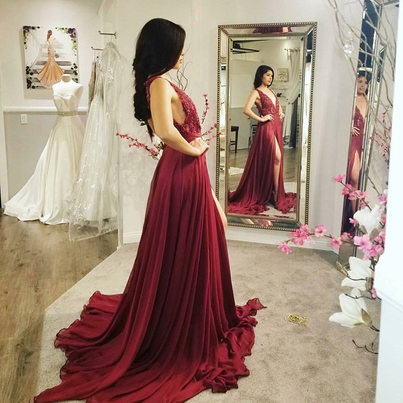 A-Line Deep V-Neck Burgundy Chiffon Prom Dress with Appliques