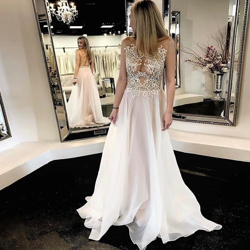 A-Line Bateau Open Back White Long Prom Dress with Appliques