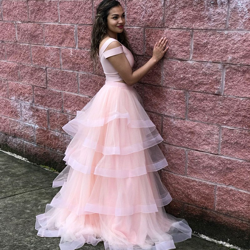 Two Piece Scoop Cold Shoulder Floor-Length Pink Tiered Prom Dress