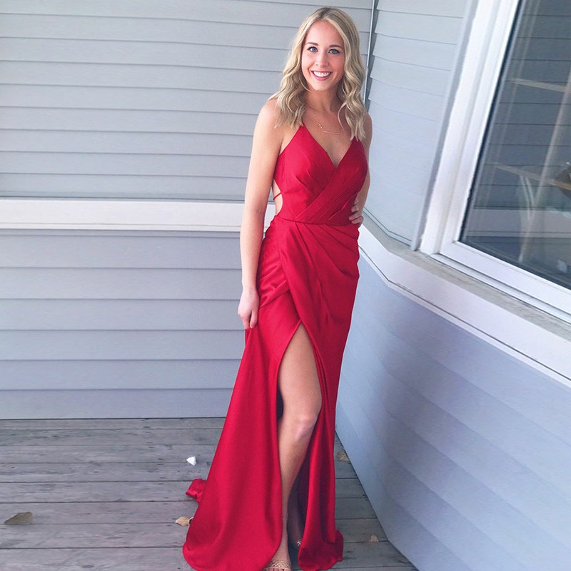 Sheath Spaghetti Straps Red Long Prom Dress with Split