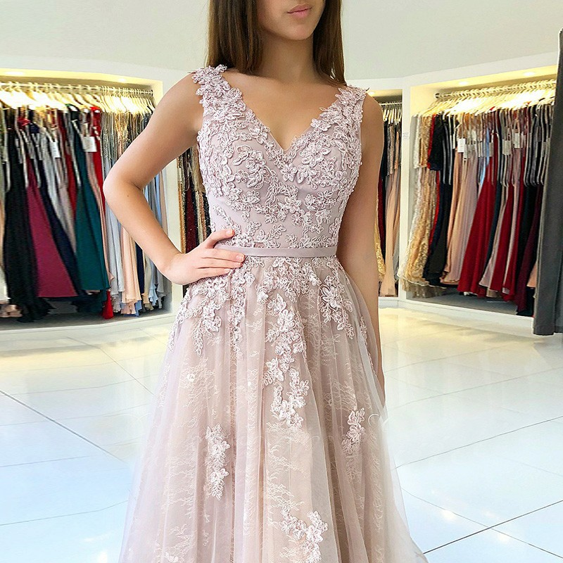 A-Line V-Neck Backless Pink Long Prom Dress with Appliques