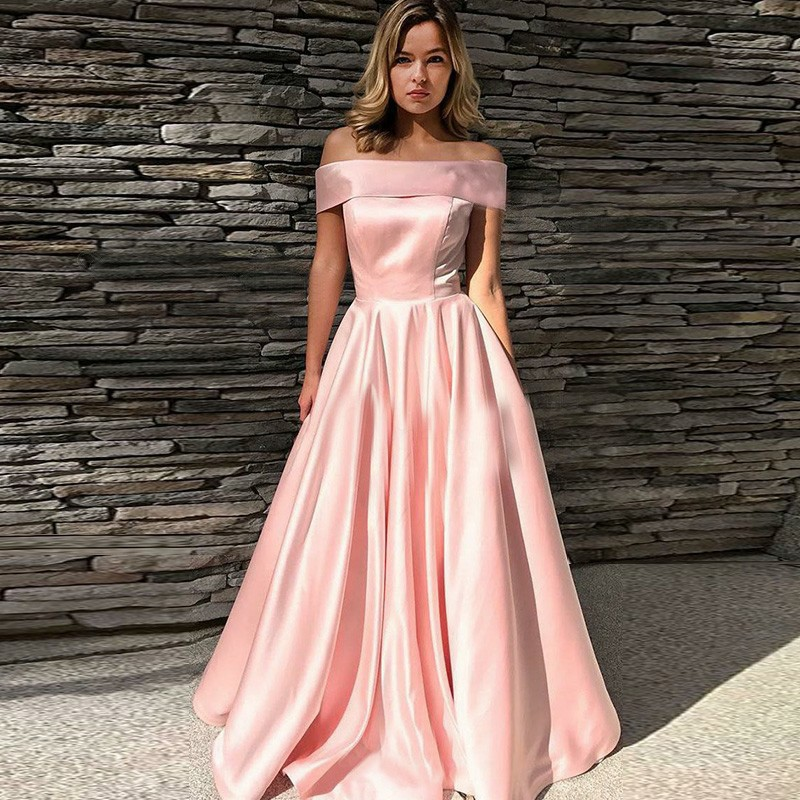 A-Line Off-the-Shoulder Sweep Train Pink Satin Prom Dress