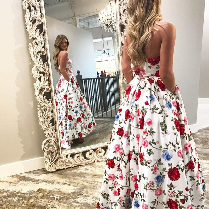 A-Line Sweetheart High Low White Floral Prom Dress with Pockets