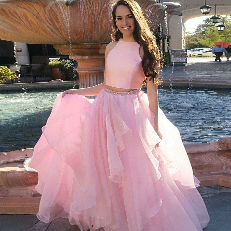 Two Piece Round Neck Long Pink Tiered Prom Dress with Beading