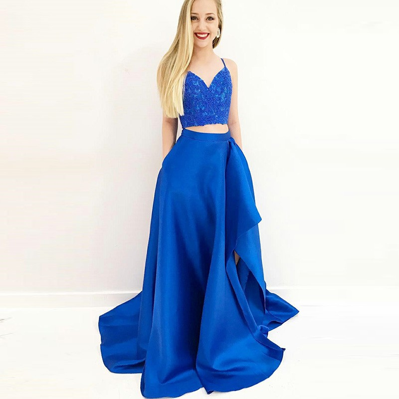 Two Piece Spaghetti Straps Royal Blue Prom Dress with Pockets