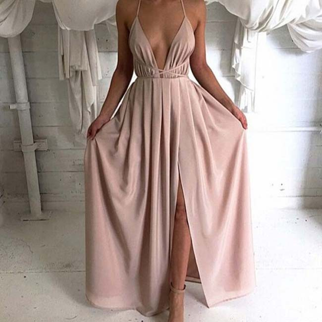 A-Line Deep V-Neck Backless Long Blush Chiffon Prom Dress with Split