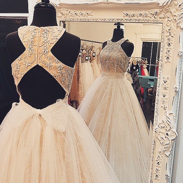 Ball Gown Jewel Champagne Tulle Prom Dress Open Back with Beading