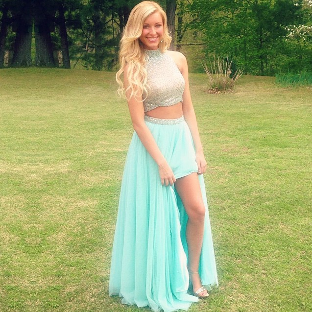 Two Piece High Neck Mint Green Tulle Prom Dress with Beading Open Back
