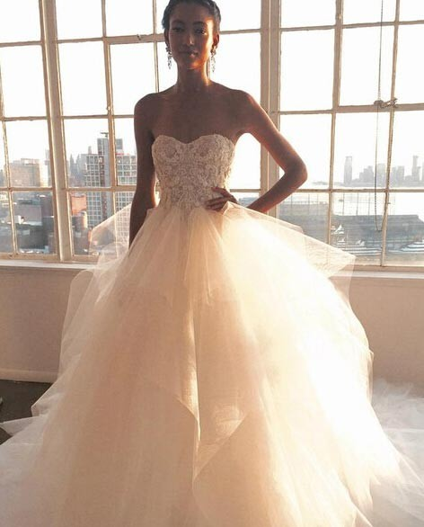 Long Tulle Wedding Dress with Appliques - White Ball Gown Strapless