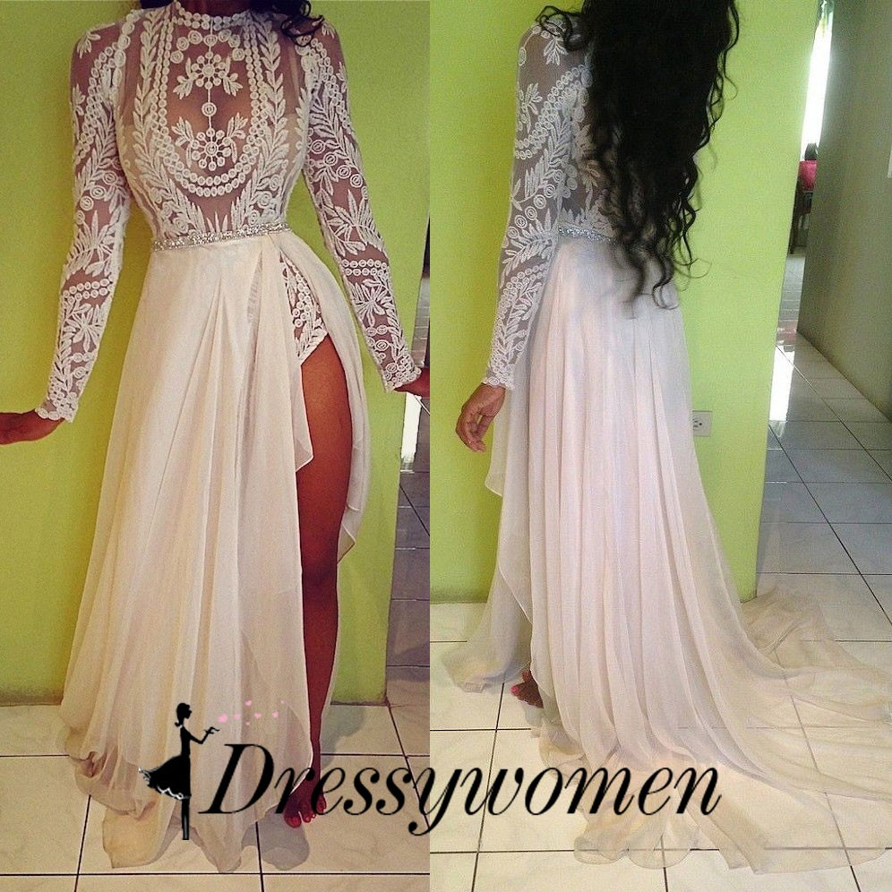 Sexy Embroidery Wedding Prom Gown - White Lace Sheer Crystal Belt Chiffon Dress