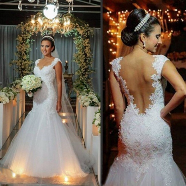 Dramatic Wedding Gown -White Mermaid V-Neck Dress with Appliques