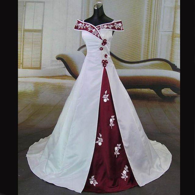 Elegant Wedding Dress -Burgundy and White A-Line Off-the-Shoulder with Embroidery