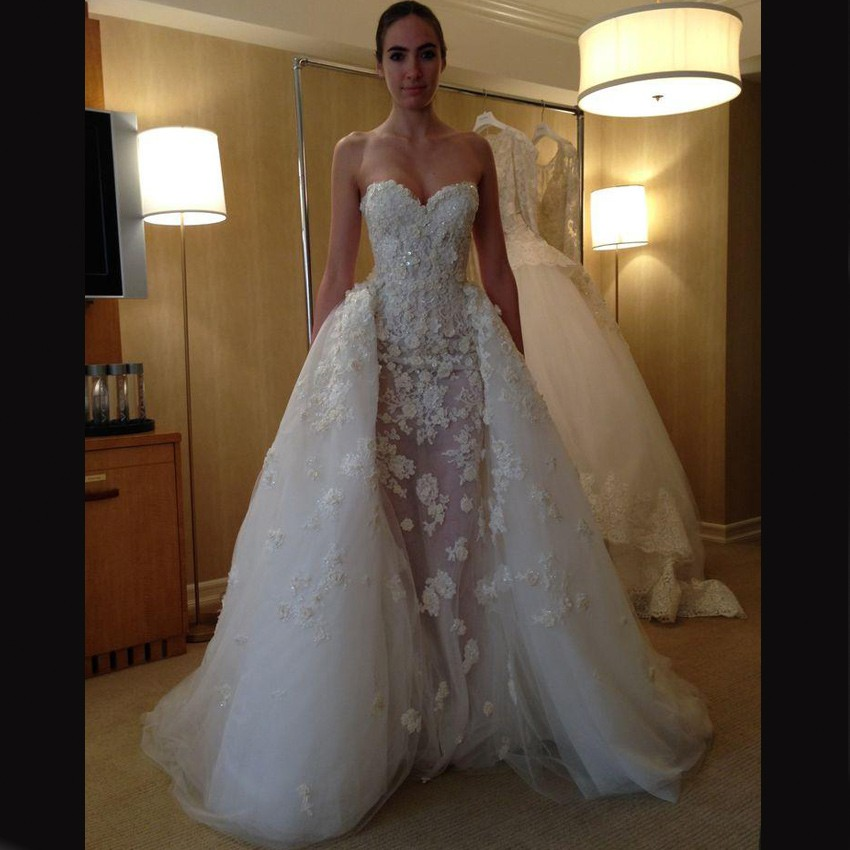 Gorgeous Wedding Dress -Ivory Mermaid Sweetheart Detachable Train with Appliques