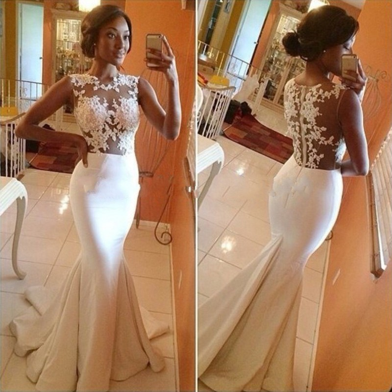 Hot-Sell Long Wedding Gown - White Mermaid Scoop with Appliques