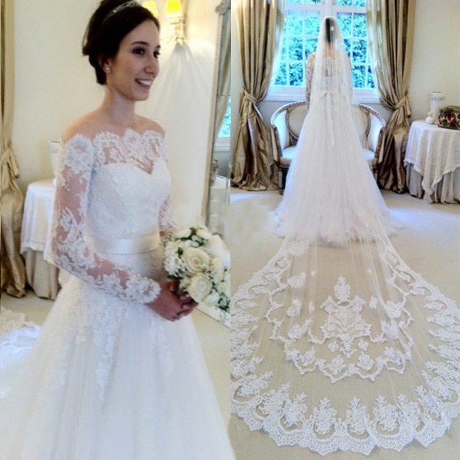 Mild White Lace Wedding Dress Bridal Gown with Long Sleeves